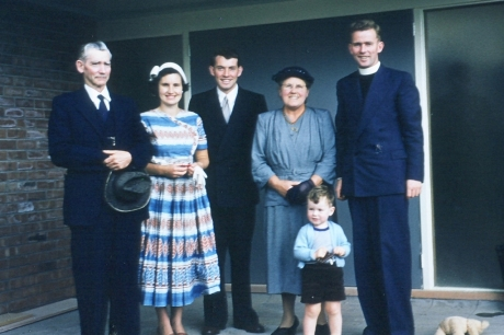 New Zealand relatives in 1959: From left Grandad Jim Elley, my mother Valerie, Jim Elley dad's brother, Georgian my maternal grandma, my dad and little me.