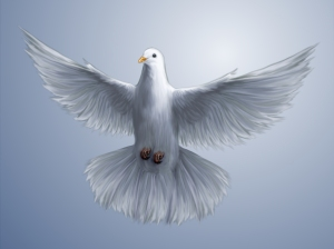 The Holy Spirit. The dove is a symbol for the Holy Spirit. The Holy Spirit always brings hope and peace.