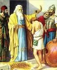 The prophet Samuel anointing King David