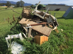 The rubbish pile ACC Christians Harry and Megan Gale left behind when they vacated my farm-house when it was sold.