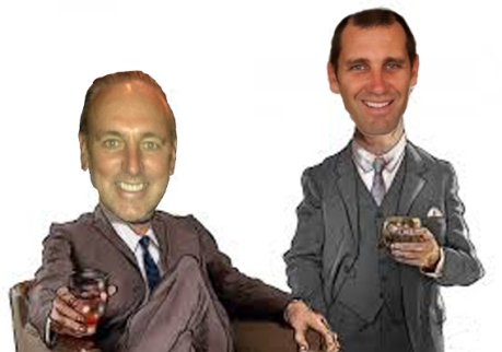 """Pastor"" Brian Houston and ""Pastor"" Joel A'Bell. An imaginary picture of these two Hillsong stooges in the Hillsong pastor's lounge."