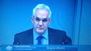 In trouble for not reporting and for sheltering a pedophile from the NSW Police for five long years. Wayne Alcorn at the Royal Commission last October
