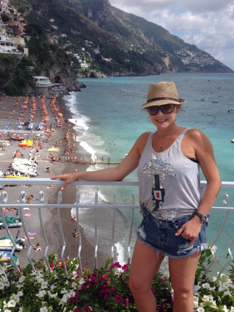 Pat Mesiti's second wife Andrea. On holiday in Positano, Amalfi Coast, South Italy- with husband Pat Mesiti, Brian and Bobbie Houston and others from the Hillsong inner circle in September 2014.