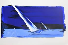 """The Great """"Doctor Phil"""" Pringle paints his Graet Yacht beating all and sundry on the mighty billows of Pittwater."""