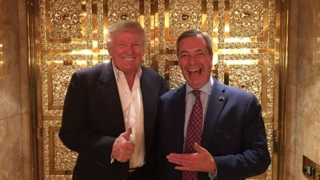 Donald Trump and Nigel Farage, the leader of the Brexit movement