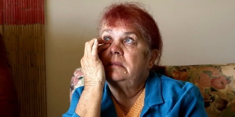 Thelma Davis cries as she talks about the death of her daughter, Lynette Daley, at her home in Yamba, Australia.