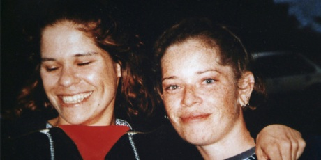 Lynette Daley, left, with her friend in Australia