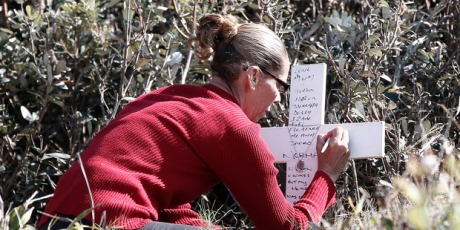 Pauline Daley writes a message on a memorial to her sister, Lynette Daley, on Ten Mile Beach near Yamba,